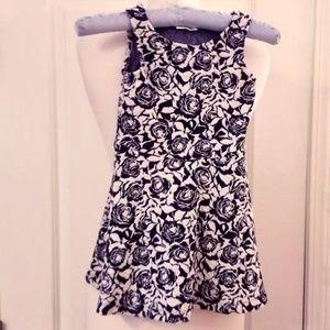 Navy Blue & White Sleeveless Jumper Dress